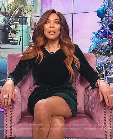 Wendy's green velvet dress on The Wendy Williams Show