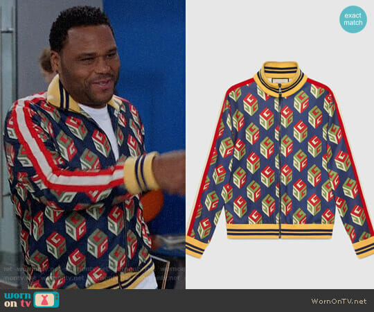 Gucci GG Wallpaper technical jersey jacket worn by Andre Johnson (Anthony Anderson) on Blackish