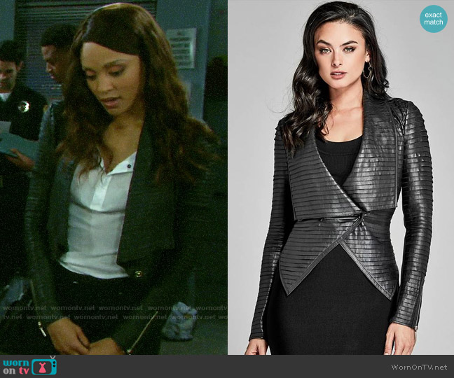 'Shayna' Drape Leather Jacket by Guess worn by Lani Price (Sal Stowers) on Days of our Lives