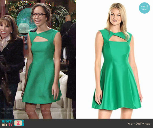 Halston Heritage Asymmetrical V Neck Dress With Geometric Cut Out worn by Lexie Stevenson on The Young & the Restless