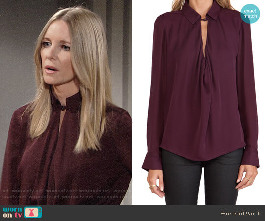 Halston Heritage Cowl Blouse worn by Lauralee Bell on The Young & the Restless
