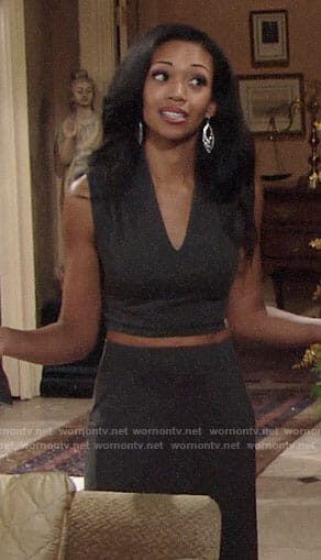 Hilary's grey crop top and maxi skirt on The Young and the Restless