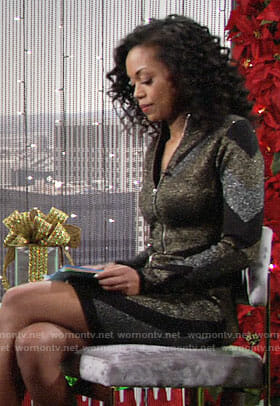 Hilary's metallic zip-front dress on The Young and the Restless