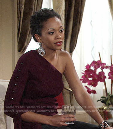 Hilary's purple one-shoulder sweater on The Young and the Restless