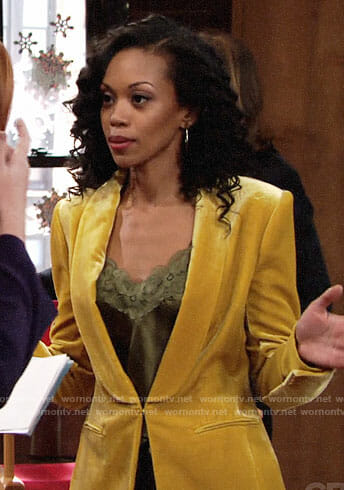 Hilary's yellow velvet blazer on The Young and the Restless