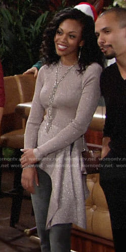 Hilary's metallic asymmetric sweater on The Young and the Restless