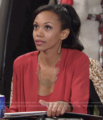 Hilary's red draped front blouse on The Young and the Restless