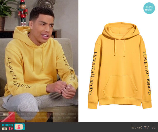 H&M Hooded Sweatshirt with Motif worn by Andre Johnson Jr (Marcus Scribner) on Blackish
