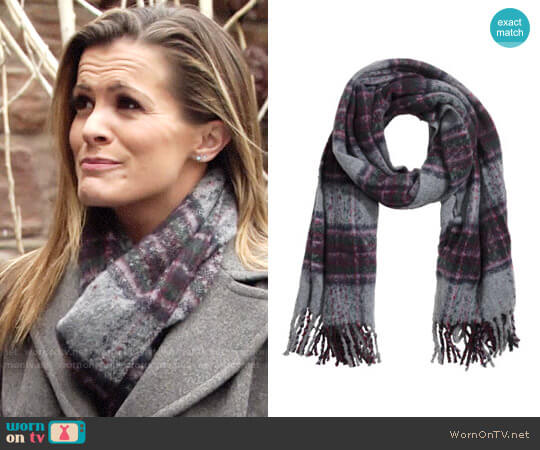 H&M Woven Scarf in Gray/Purple worn by Chelsea Lawson (Melissa Claire Egan) on The Young & the Restless