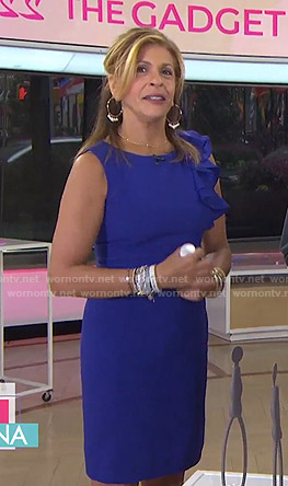 Hoda's blue ruffle shoulder dress on Today