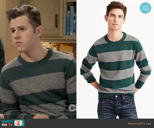 J. Crew Cotton-wool Crewneck Sweater in Stripe worn by Nolan Gould on Modern Family