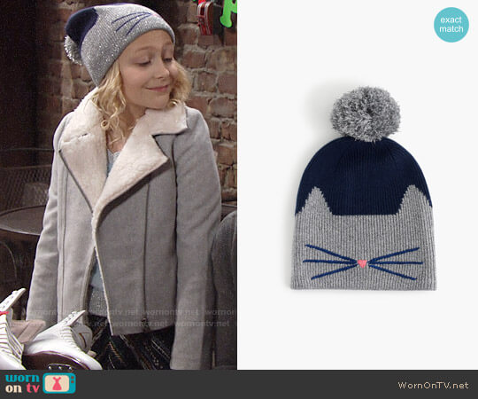 J. Crew Girls' Sparkly Cat Beanie worn by Alyvia Alyn Lind on The Young & the Restless