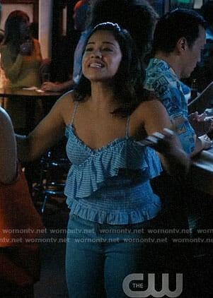 Jane's blue striped ruffled top on Jane the Virgin