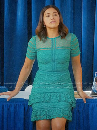 Jane's turquoise ruffled lace dress on Jane the Virgin