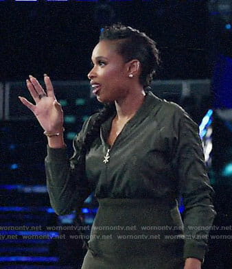 Jennifer Hudson's black bomber jacket style dress on The Voice