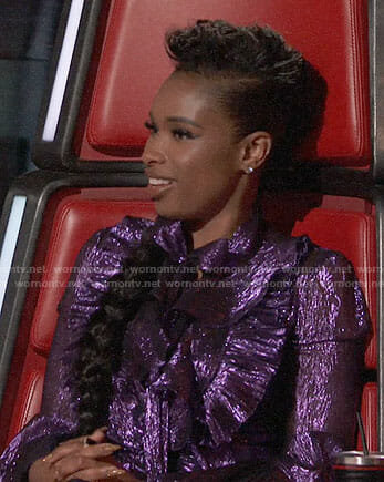 Jennifer Hudson's purple ruffled gown on The Voice