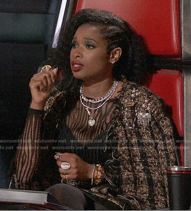 Jennifer Hudson's metallic tweed coat on The Voice
