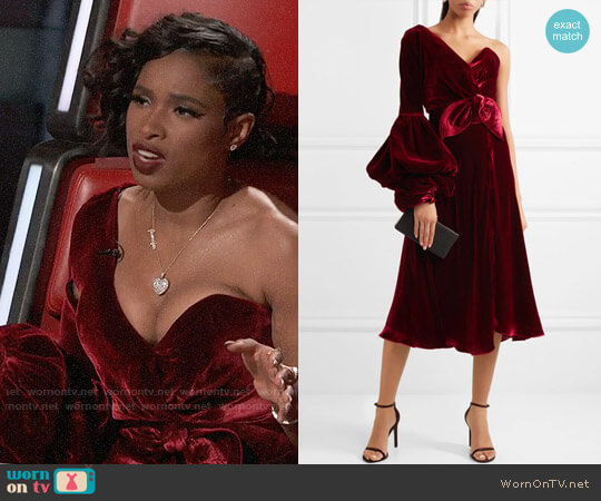 Johanna Ortiz Sabina one-shoulder velvet dress worn by Jennifer Hudson on The Voice