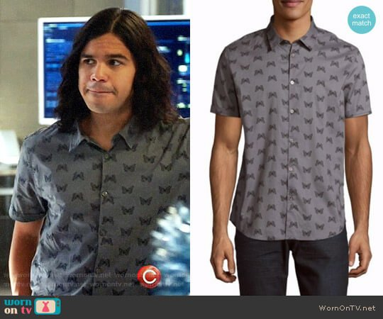 John Varvatos Butterfly Print Cotton Casual Button Down Shirt worn by Cisco Ramon (Carlos Valdes) on The Flash