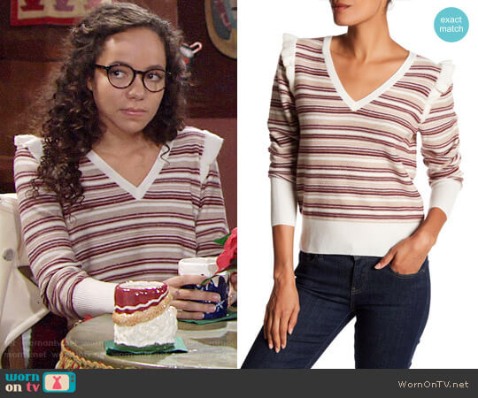 Joie V-Neck Long Sleeve Striped Wool Blend Sweater worn by Lexie Stevenson on The Young & the Restless