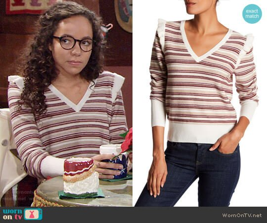 Joie V-Neck Long Sleeve Striped Wool Blend Sweater worn by Mattie Ashby (Lexie Stevenson) on The Young & the Restless