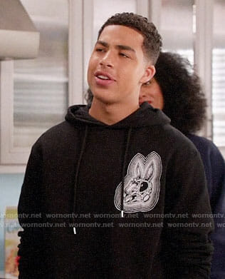 Junior's rabbit skull hoodie on Black-ish