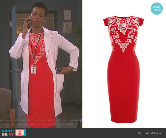 Embroidered Pencil Dress by Karen Millen worn by Vanessa Williams on Days of our Lives