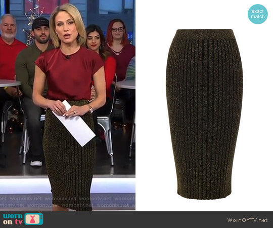Knitted Midi Skirt by Karen Millen worn by Amy Robach on Good Morning America