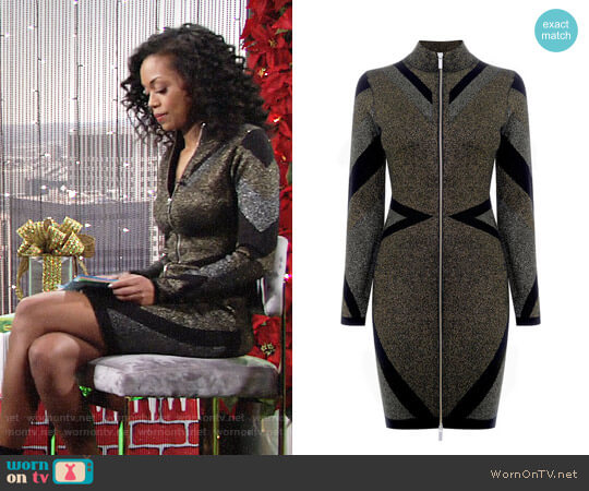 Karen Millen Metallic Knitted Zip Dress worn by Mishael Morgan on The Young & the Restless
