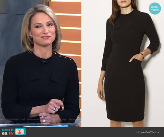Military Long Sleeve Dress by Karen Millen worn by Amy Robach  on Good Morning America