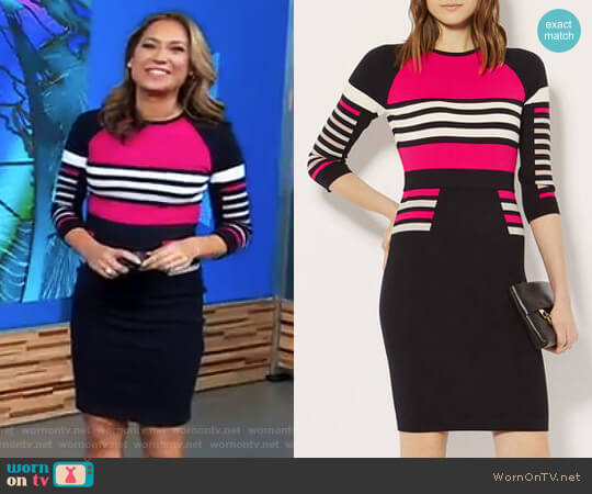 Stripe Pencil Knit Dress by Karen Millen worn by Ginger Zee  on Good Morning America