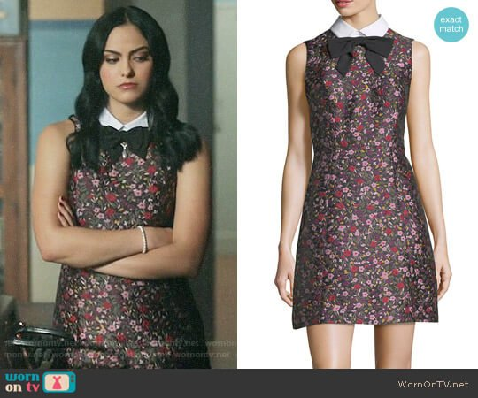Kate Spade Collared Sleeveless Floral-Jacquard Mini Dress worn by Veronica Lodge (Camila Mendes) on Riverdale