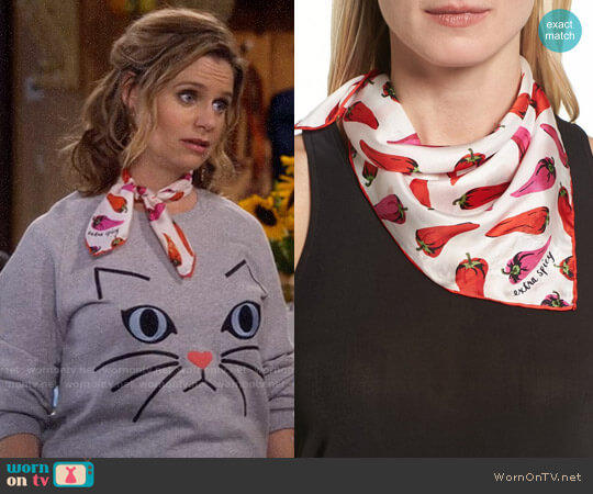Kate Spade Hot Pepper Silk Bandana worn by Andrea Barber on Fuller House