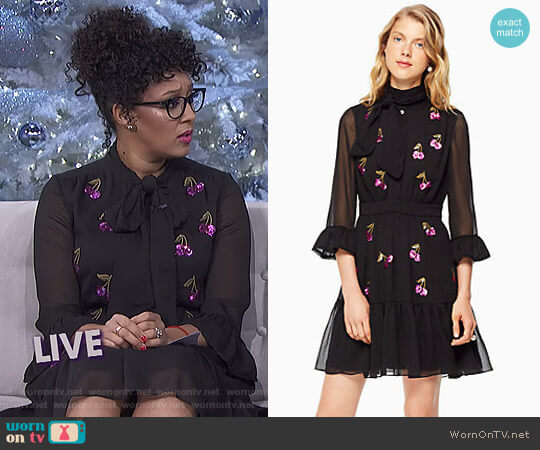 Sequin Cherries Shirtdress by Kate Spade worn by Tamera Mowry on The Real