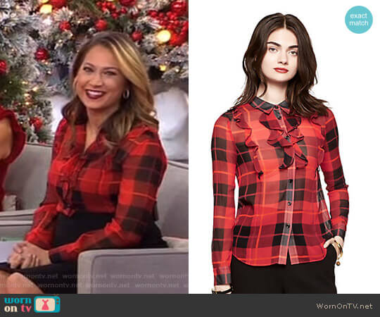 Woodland Plaid Crinkle Chiffon Blouse by Kate Spade worn by Ginger Zee on Good Morning America