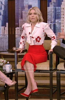 Kelly's white hibiscus print tie blouse and red pencil skirt on Live with Kelly and Ryan