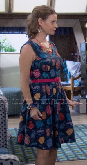 Kimmy's blue stone print dress on Fuller House