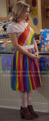 Kimmy's rainbow top and skirt on Fuller House