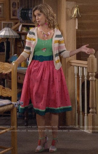 Kimmy's watermelon dress and striped cardigan on Fuller House