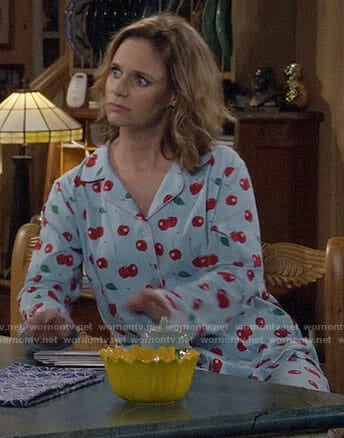 Kimmy's cherry print pajamas on Fuller House
