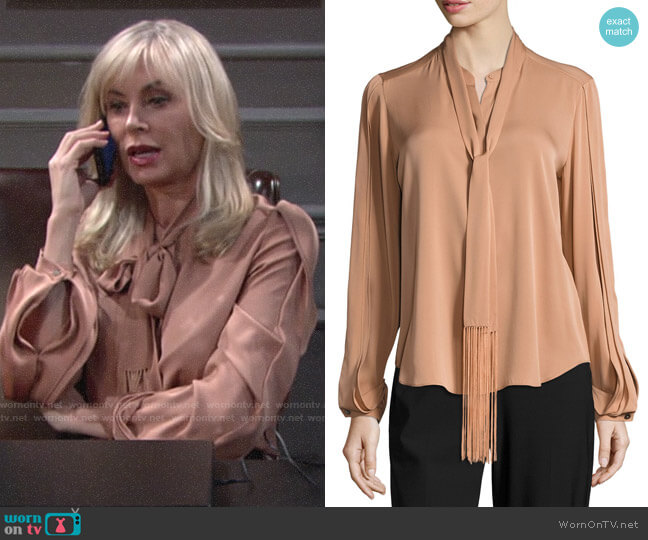 Kobi Halperin Tara Fringed Tie-Neck Stretch-Silk Blouse worn by Ashley Abbott (Eileen Davidson) on The Young & the Restless