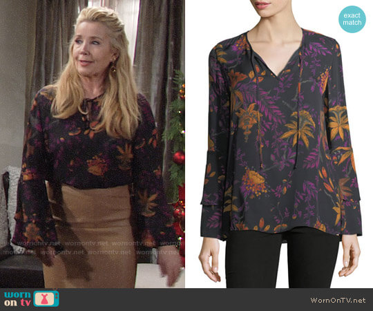 Kobi Halperin Blake Blouse worn by Nikki Reed Newman (Melody Thomas-Scott) on The Young & the Restless