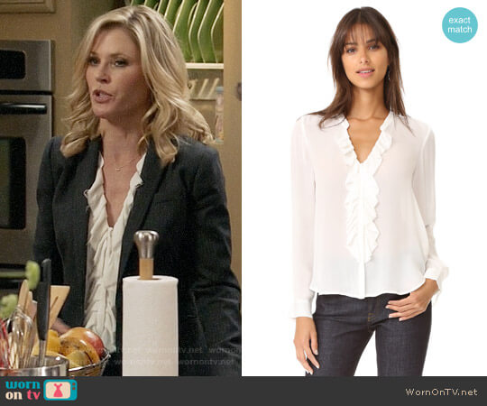 L'Agence Guilietta Ruffle Blouse worn by Claire Dunphy (Julie Bowen) on Modern Family