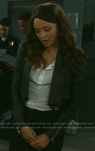 Lani's black pleated leather jacket on Days of our Lives