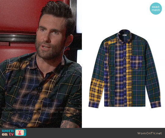 Lanvin Patchwork Check Shirt worn by Adam Levine on The Voice