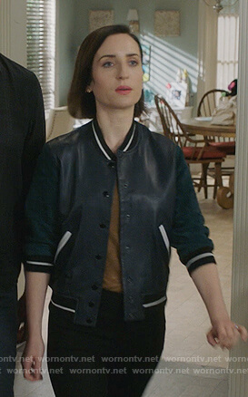 Jen's black and green varsity jacket on Life in Pieces