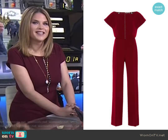 Blouson Pearl Inset Jumpsuit by Lela Rose worn by Jenna Bush Hager on Today