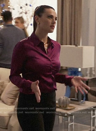 Lena's pink button down blouse on Supergirl
