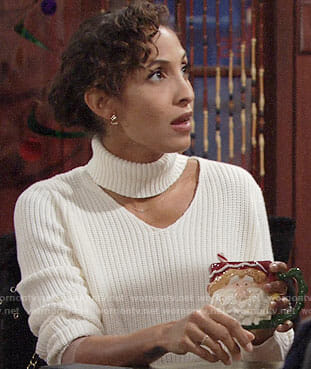 Lily's white choker neck sweater on The Young and the Restless