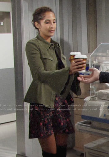 Lily's green peplum jacket and floral skirt on The Young and the Restless